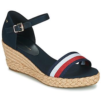Schuhe Damen Sandalen / Sandaletten Tommy Hilfiger SHIMMERY RIBBON MID WEDGE SANDAL Marineblau