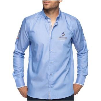 Vêtements Homme Chemises manches longues Shilton Chemise rugby 6 nations manches longues Bleu ciel