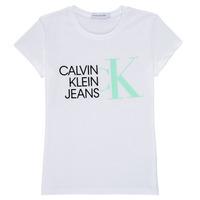 Abbigliamento Bambina T-shirt maniche corte Calvin Klein Jeans HYBRID LOGO SLIM T-SHIRT