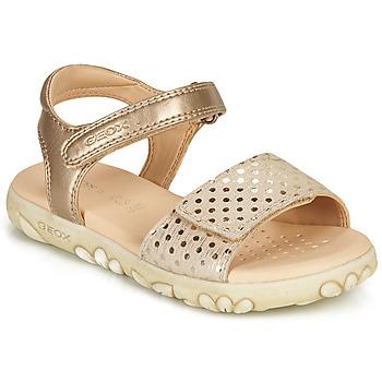 Schuhe Mädchen Sandalen / Sandaletten Geox SANDAL HAITI GIRL Beige / Golden