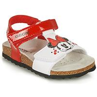 Schuhe Mädchen Sandalen / Sandaletten Geox SANDAL CHALKI GIRL Rot / Weiß