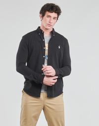 Vêtements Homme Chemises manches longues Polo Ralph Lauren CHEMISE AJUSTEE COL BOUTONNE EN POLO FEATHERWEIGHT LOGO PONY PLA