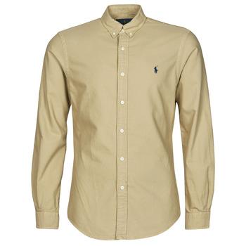 Kleidung Herren Langärmelige Hemden Polo Ralph Lauren CHEMISE CINTREE SLIM FIT EN OXFORD LEGER TYPE CHINO COL BOUTONNE Beige