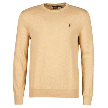 Kleidung Herren Pullover Polo Ralph Lauren PULL COL ROND AJUSTE EN COTON PIMA LOGO PONY PLAYER Kamel