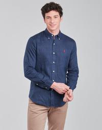 Vêtements Homme Chemises manches longues Polo Ralph Lauren CHEMISE AJUSTEE EN LIN COL BOUTONNE  LOGO PONY PLAYER