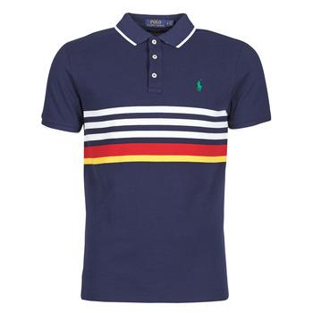 Kleidung Herren Polohemden Polo Ralph Lauren POLO AJUSTE DROIT RAYE AVEC DETAILS DE COL ET DETAILS MANCHES EN Marineblau