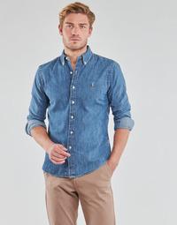 Vêtements Homme Chemises manches longues Polo Ralph Lauren CHEMISE CINTREE SLIM FIT EN JEAN DENIM BOUTONNE LOGO PONY PLAYER