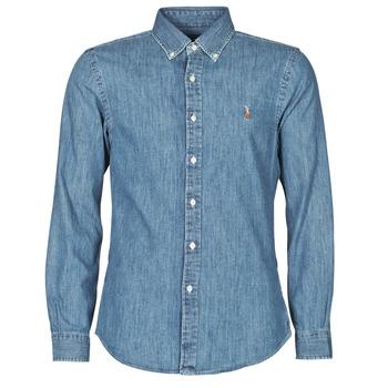 Abbigliamento Uomo Camicie maniche lunghe Polo Ralph Lauren CHEMISE CINTREE SLIM FIT EN JEAN DENIM BOUTONNE LOGO PONY PLAYER
