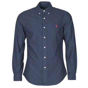 Kleidung Herren Langärmelige Hemden Polo Ralph Lauren CHEMISE CINTREE SLIM FIT EN OXFORD LEGER TYPE CHINO COL BOUTONNE Marineblau