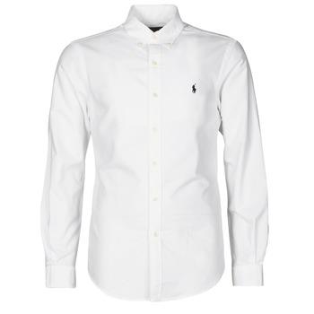 Kleidung Herren Langärmelige Hemden Polo Ralph Lauren CHEMISE CINTREE SLIM FIT EN OXFORD LEGER TYPE CHINO COL BOUTONNE Weiß