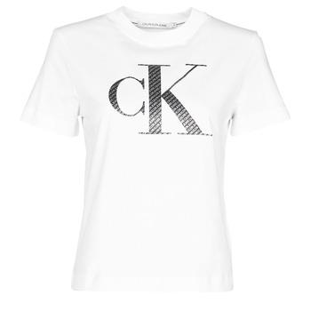 Vêtements Femme T-shirts manches courtes Calvin Klein Jeans SATIN BONDED FILLED CK TEE