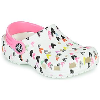 Schuhe Mädchen Pantoletten / Clogs Crocs CLASSIC HEART PRINT CLOG K Weiß