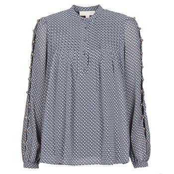 Kleidung Damen Tops / Blusen MICHAEL Michael Kors MINI FLORAL LS TOP Marineblau