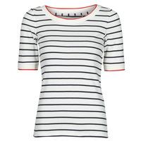 Kleidung Damen T-Shirts Esprit RAYURES COL ROUGE Weiß