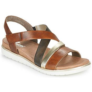 Schuhe Damen Sandalen / Sandaletten Rieker MARRO Braun, / Silbrig