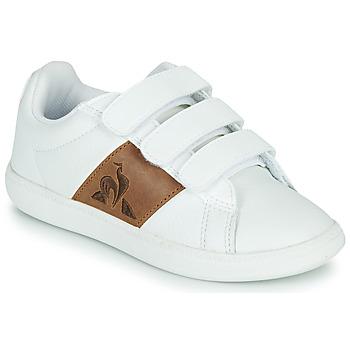 Schuhe Kinder Sneaker Low Le Coq Sportif COURTCLASSIC PS Weiß / Braun,