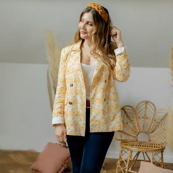 Kleidung Damen Jacken / Blazers Céleste ALIZE Gelb / Weiß