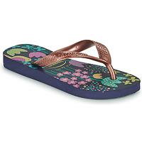 Schuhe Mädchen Zehensandalen Havaianas KIDS FLORES Marineblau / Golden