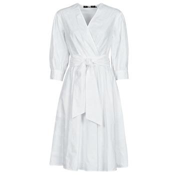 Kleidung Damen Kurze Kleider Karl Lagerfeld LOGO EMROIDERED SHIRT DRESS Weiß