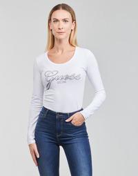 Kleidung Damen Langarmshirts Guess LS CN RAISA TEE Weiß