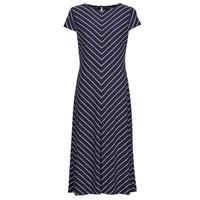 Kleidung Damen Maxikleider Lauren Ralph Lauren PIPPA-CAP SLEEVE-DAY DRESS Blau