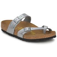 Schuhe Damen Pantoffel Birkenstock MAYARI Silbern