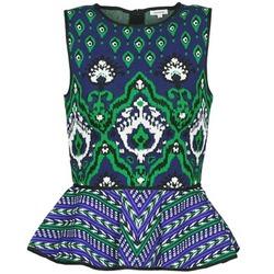 Abbigliamento Donna Top / T-shirt senza maniche Manoush JACQUARD OOTOMAN Blu / Nero / Verde