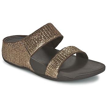 Schuhe Damen Pantoffel FitFlop LULU SUPERGLITZ SLIDE Bronze