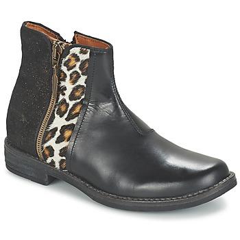 Chaussures Fille Boots Shwik TIJUANA WILD Noir / Léopard