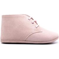 Chaussures Enfant Chaussons bébés Boni & Sidonie Chausson cuir souple à lacet - CHARLES Daim Rose Pale