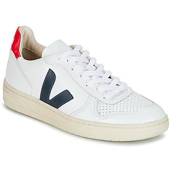 Chaussures Baskets basses Veja V-10 Blanc / Bleu / Rouge