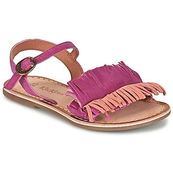 Chaussures Fille Sandales et Nu-pieds Kickers DIXFROUFROU KID Fuchsia / Corail