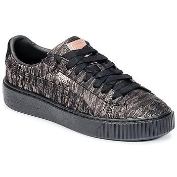 Schuhe Damen Sneaker Low Puma Basket Platform Bi Color Schwarz / Rose