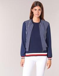 Kleidung Damen Jacken / Blazers Tommy Hilfiger NALOME GLOBAL STP BOMBER Marineblau / Weiß / Rot