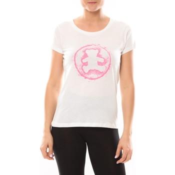 Vêtements Femme T-shirts manches courtes LuluCastagnette T-shirt Happy Blanc Blanc
