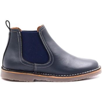 Chaussures Garçon Boots Boni & Sidonie Boots à enfiler en cuir - BENOIT Bleu Marine