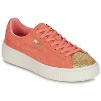 Chaussures Fille Baskets basses Puma SUEDE PLATFORM GLAM JR Orange / Doré