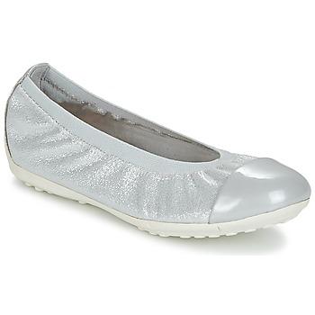 Chaussures Fille Ballerines / babies Geox J PIUMA BAL A Gris / Argenté