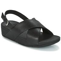 Schuhe Damen Sandalen / Sandaletten FitFlop LULU CROSS BACK-STRAP SANDALS - LEATHER Schwarz