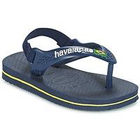 Chaussures Garçon Tongs Havaianas BABY BRASIL LOGO Marine / Jaune