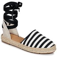 Schuhe Damen Leinen-Pantoletten mit gefloch Betty London INANO Schwarz / Weiss