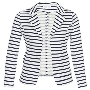 Kleidung Damen Jacken / Blazers Moony Mood IFAROUCHE Weiß / Marineblau