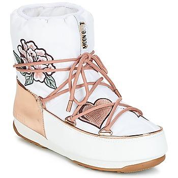 Schuhe Damen Schneestiefel Moon Boot PEACE & LOVE WP Weiß / Gold