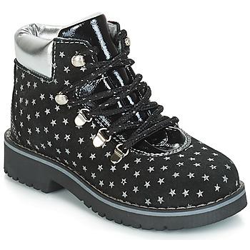 Chaussures Fille Boots Citrouille et Compagnie JORDA Noir / Argent