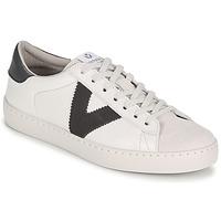 Schuhe Herren Sneaker Low Victoria BERLIN PIEL CONTRASTE Weiss / Grau